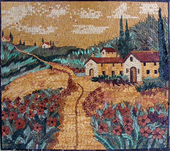 Italian Houses in Flower Field Mosaic