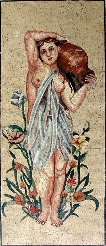 Woman Carrying a Jar Mosaic Mural Art