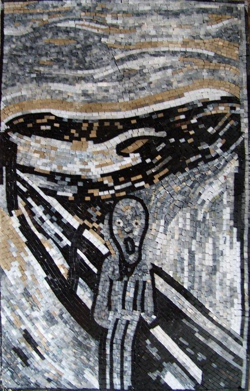 "Edvard Munch Scream"" - Black and White Mosaic"""