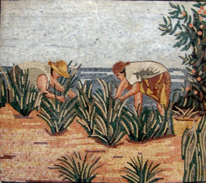 Land Workers Natural Scene Marble Mosaic