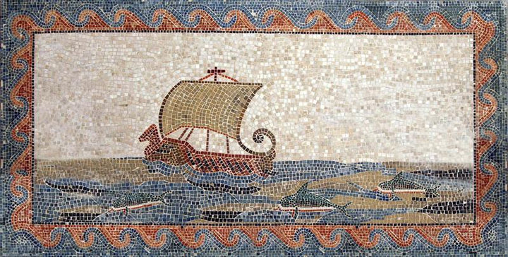 Ancient Sailing Boat Mosaic