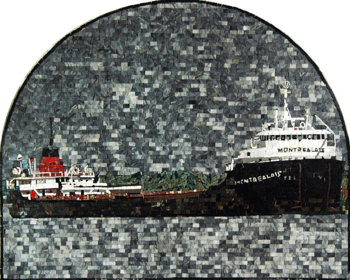 Boat Scene in an Arched Design Mosaic