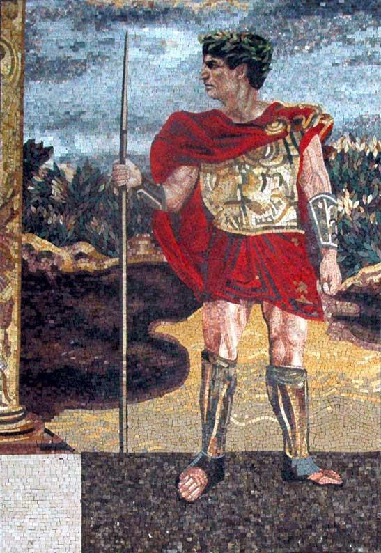 Mosaic Art - Troy The Greek Warrior