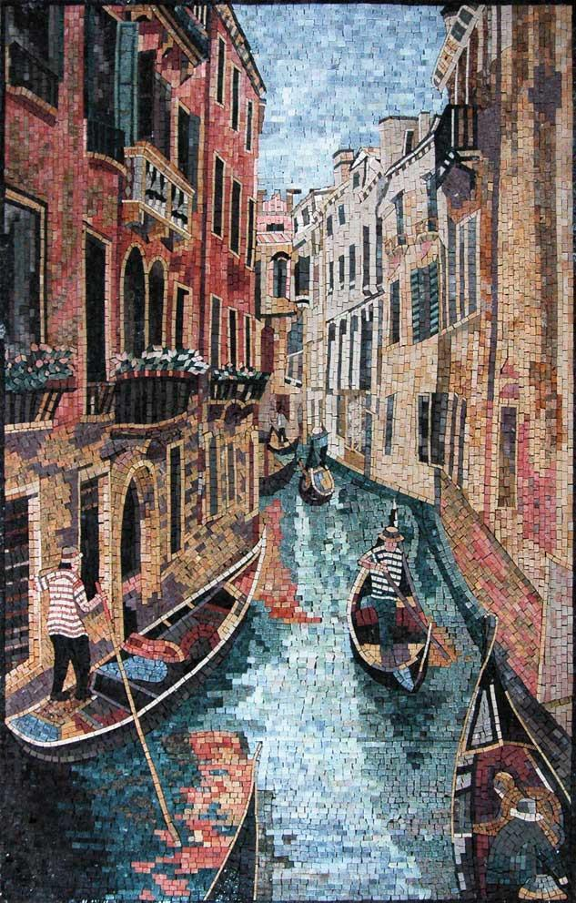 Fascinating View of Venice Grand Canal Italy Handmade Mosaic Marble