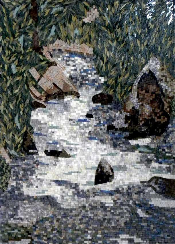 Water Falls Natural Scene Mosaic