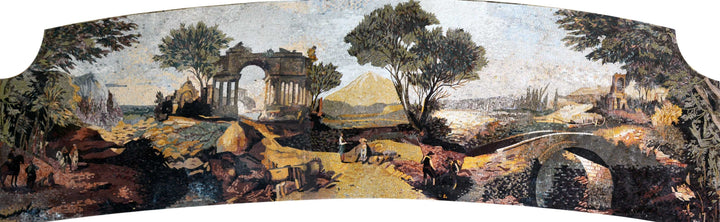 Village Natural Scene Marble Mosaic