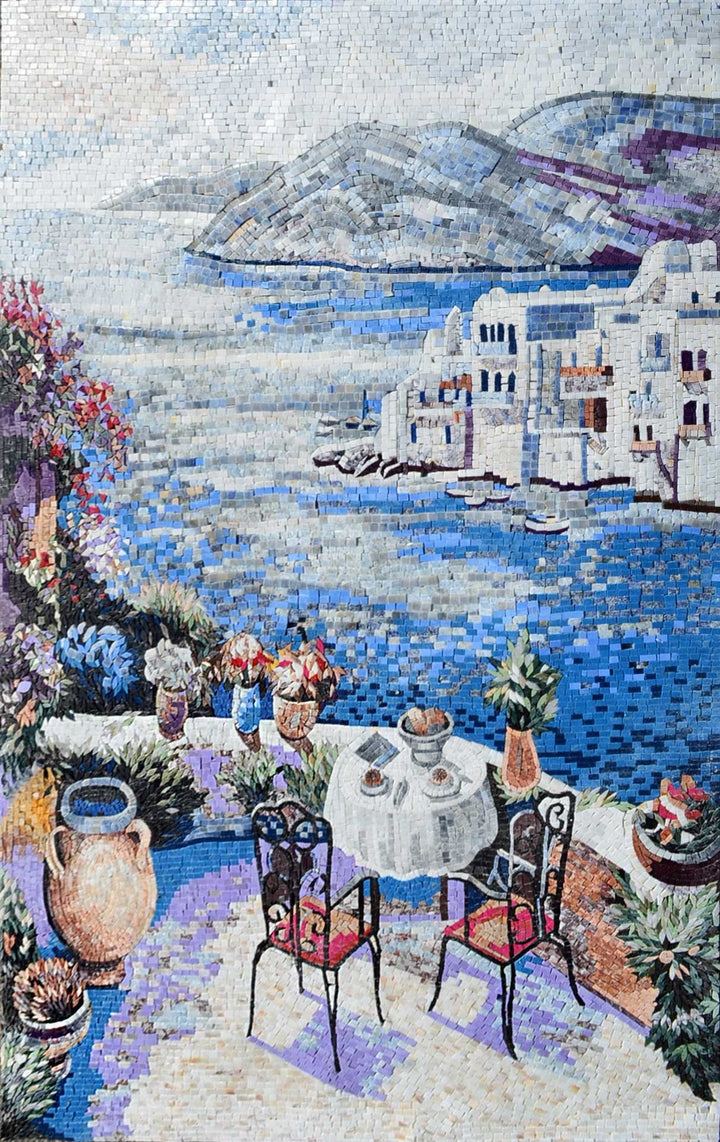 Coffee table on a terrace view on Marble Mosaic Mural