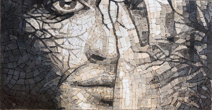 Handmade Mosaic Portrait of Woman Artistic