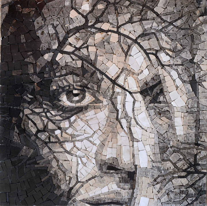 Woman Face Position Mosaic Portrait Mural