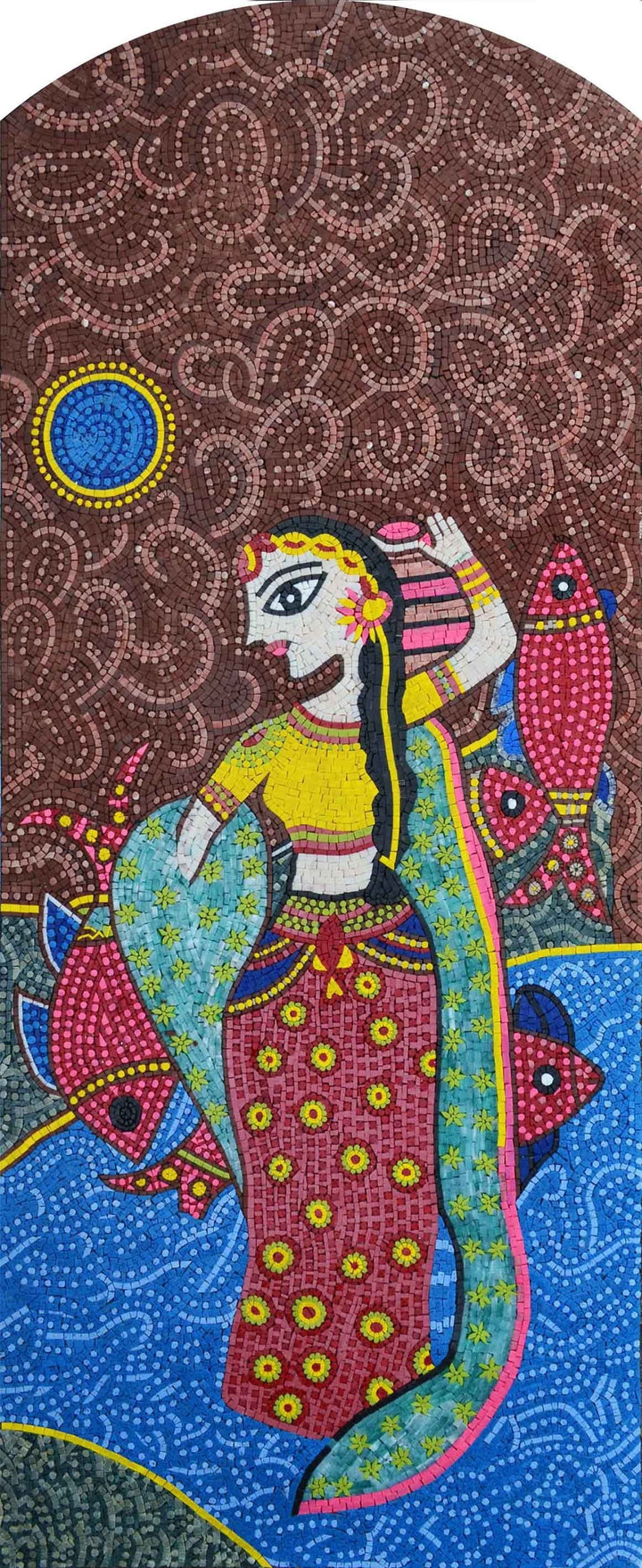 Madhubani  Indian Art Reproduction Handmade Mosaic Marble
