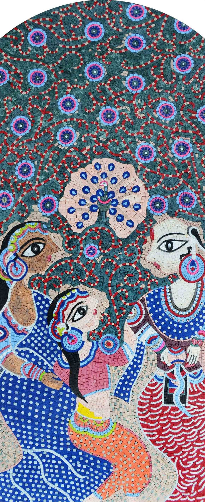 Handmade Art Reproduction Madhubani Indian Mosaic Marble