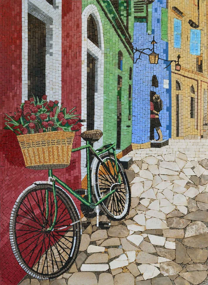 Parisian Narrow Street Custom Mosaic Tile Art