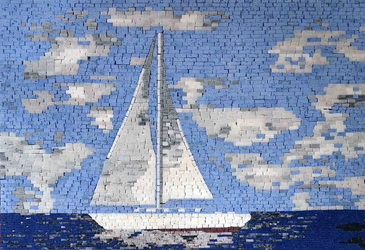 Sailing Boat in Blue Calm Sea Marble Mosaic