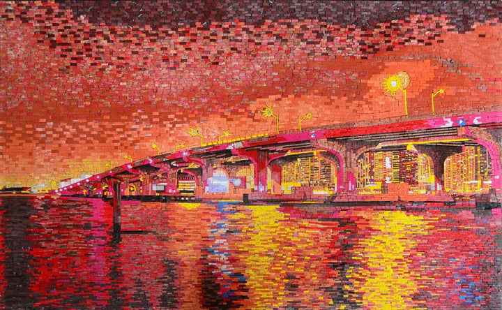 Manhattan Bridge at Sunset Marble Mosaic