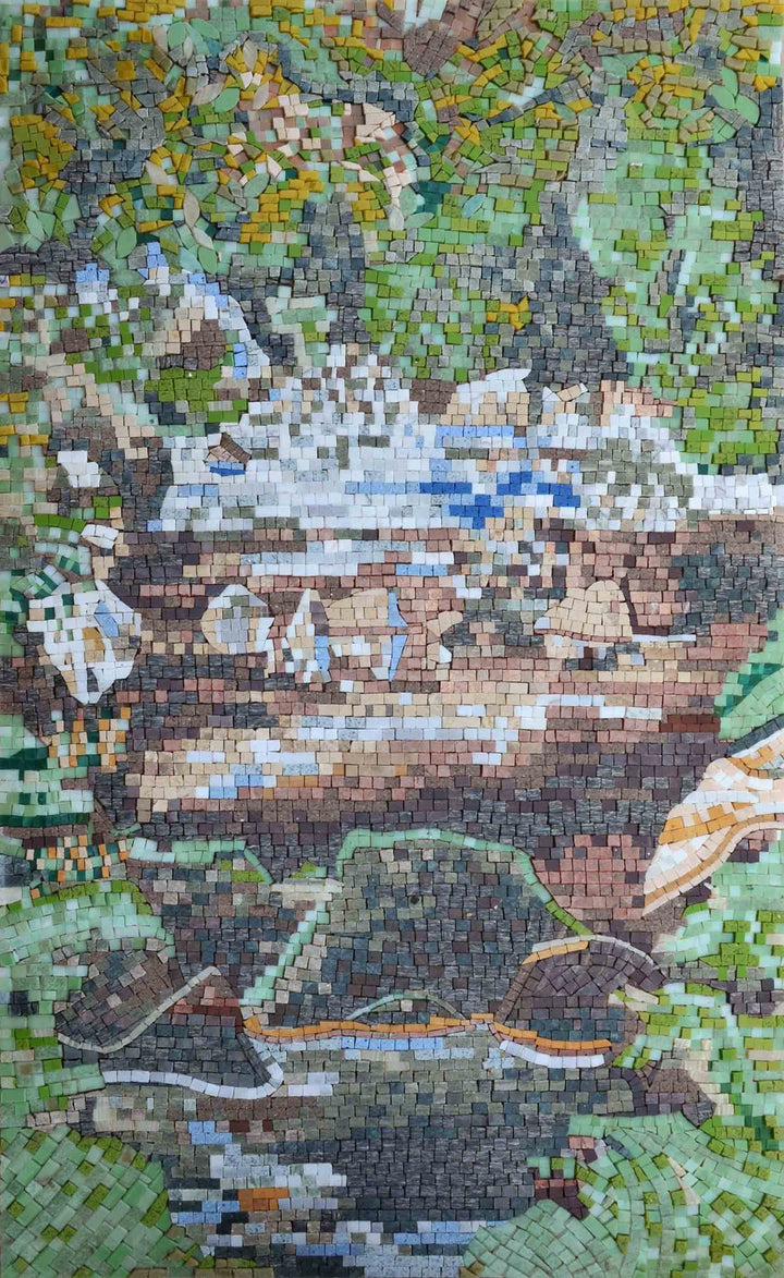 Twin Bells Mountain Scene Mosaic
