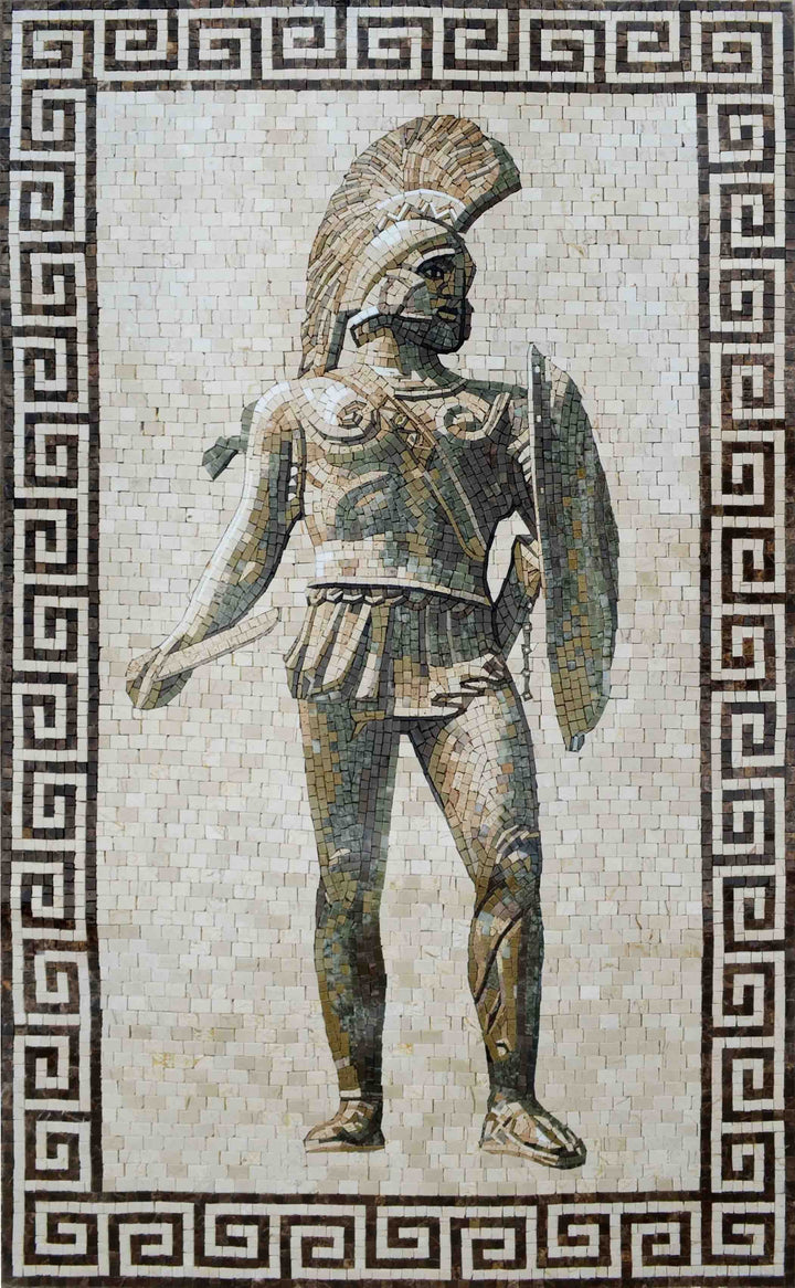 Mosaic Art - Roman Soldier with Spear