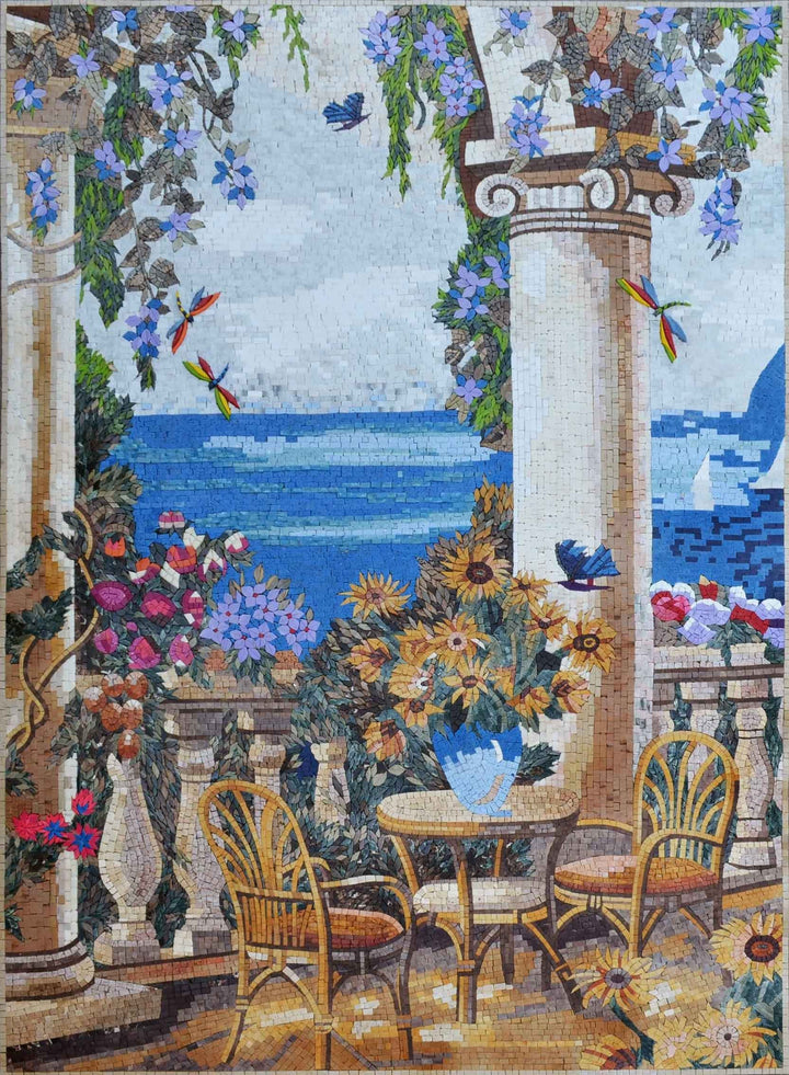 Landscape Mosaic Art - Dreamy Coffee Shop
