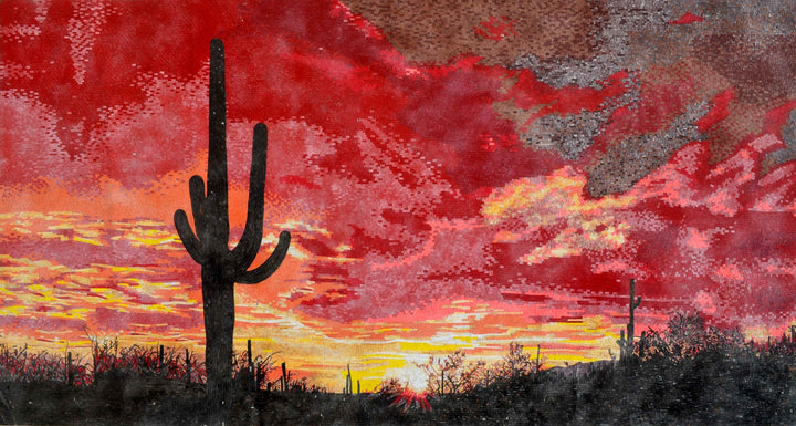 Mosaic Art - Red Sunset Sky in Arizona