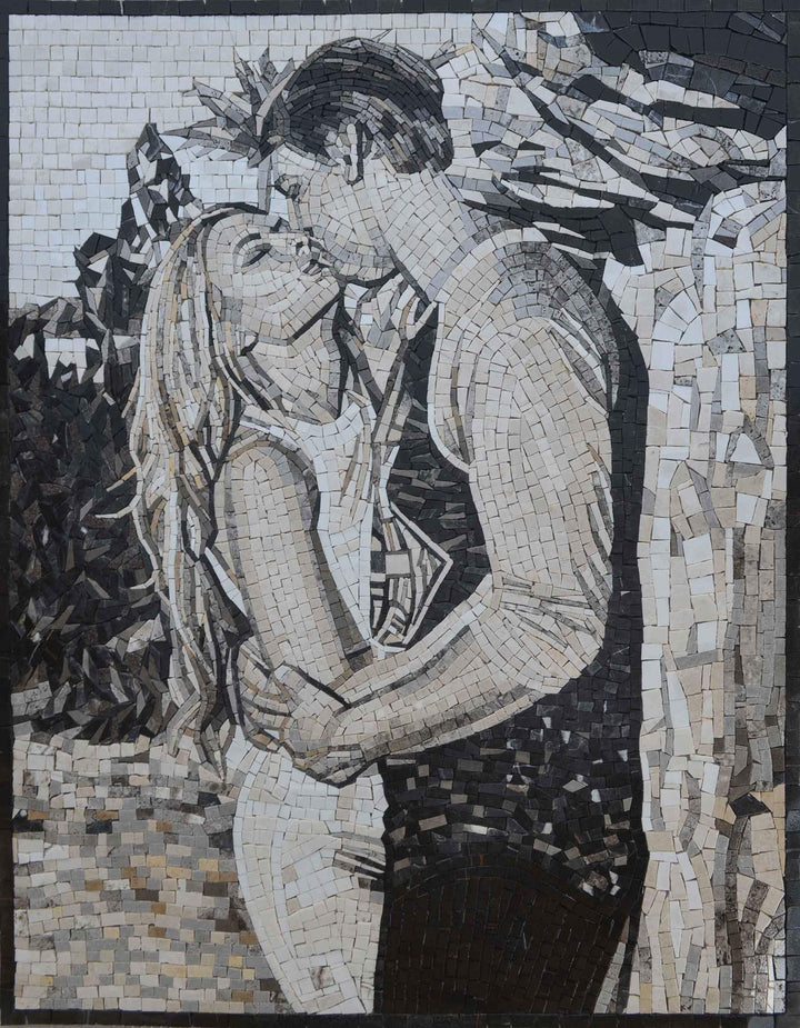 Couple's Romantic Kiss Mosaic