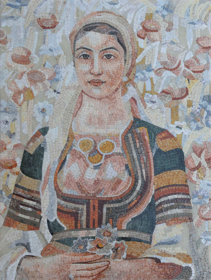 "Vladimir Dimitrov  ""Singing Harvesters"" - Female Portait Mosaic Reproduction"