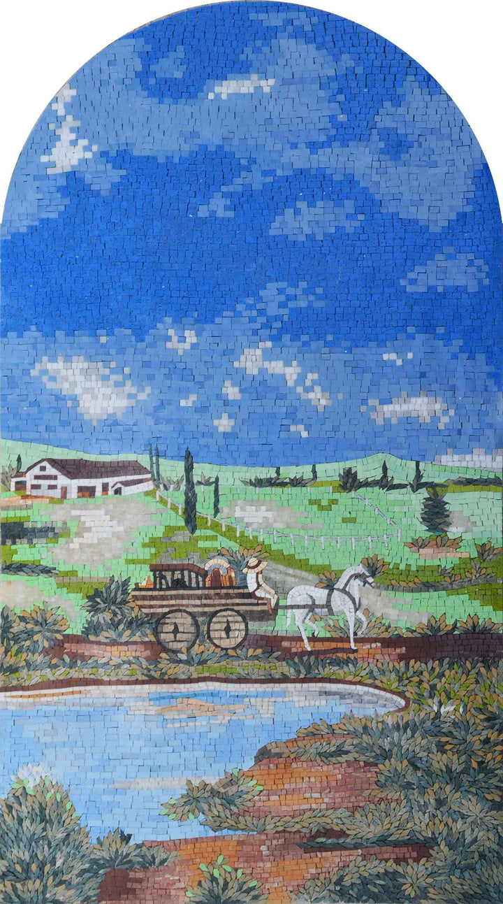 Mosaic Art - Carriage by the pond