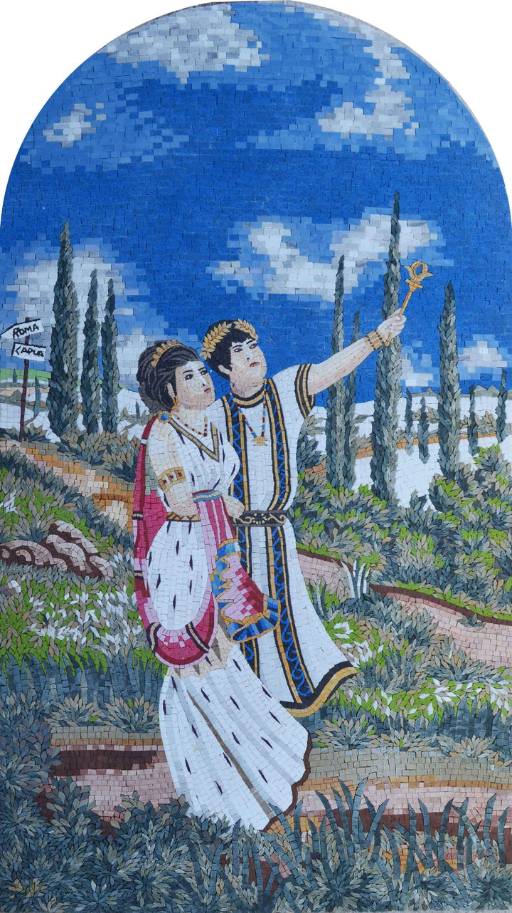 Greek Couple Strolling By - Mosaic Wall Art