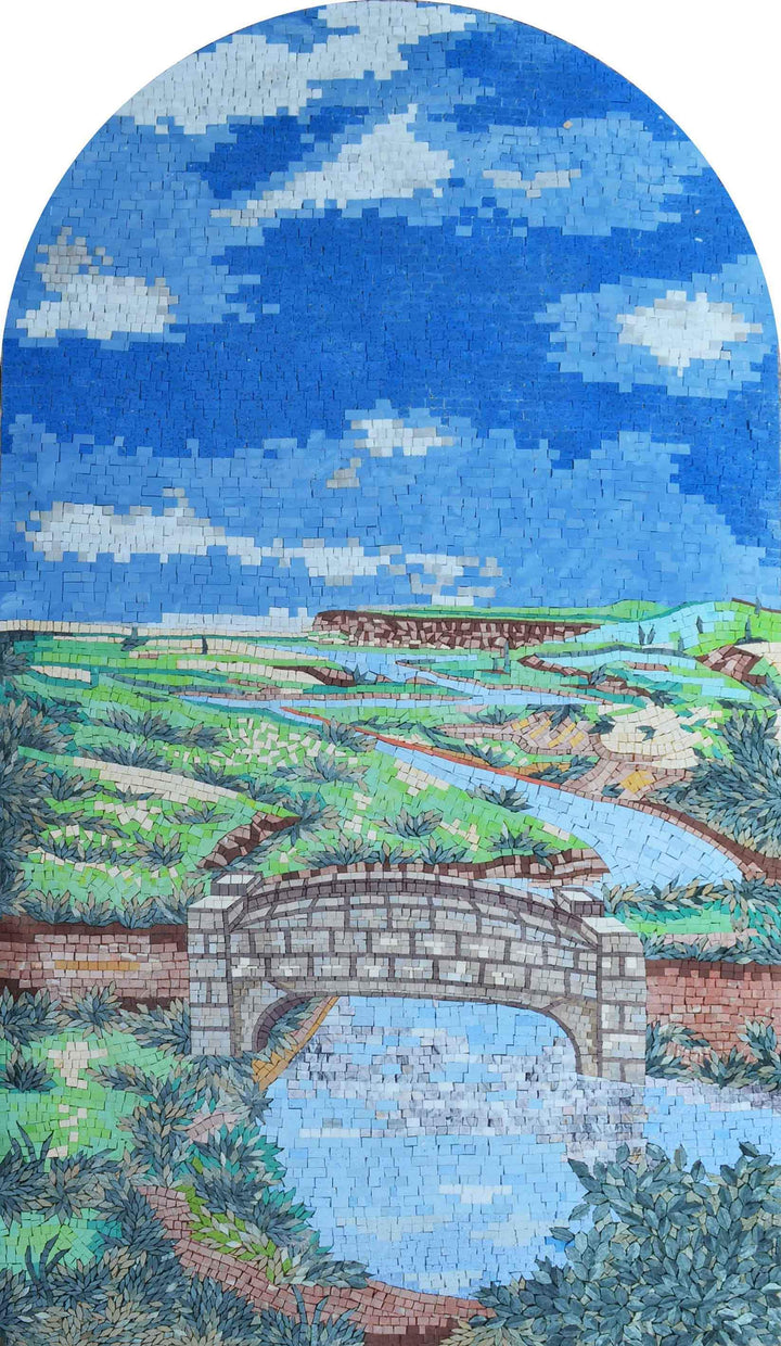 River Through the Green Land - Mosaic Wall Art