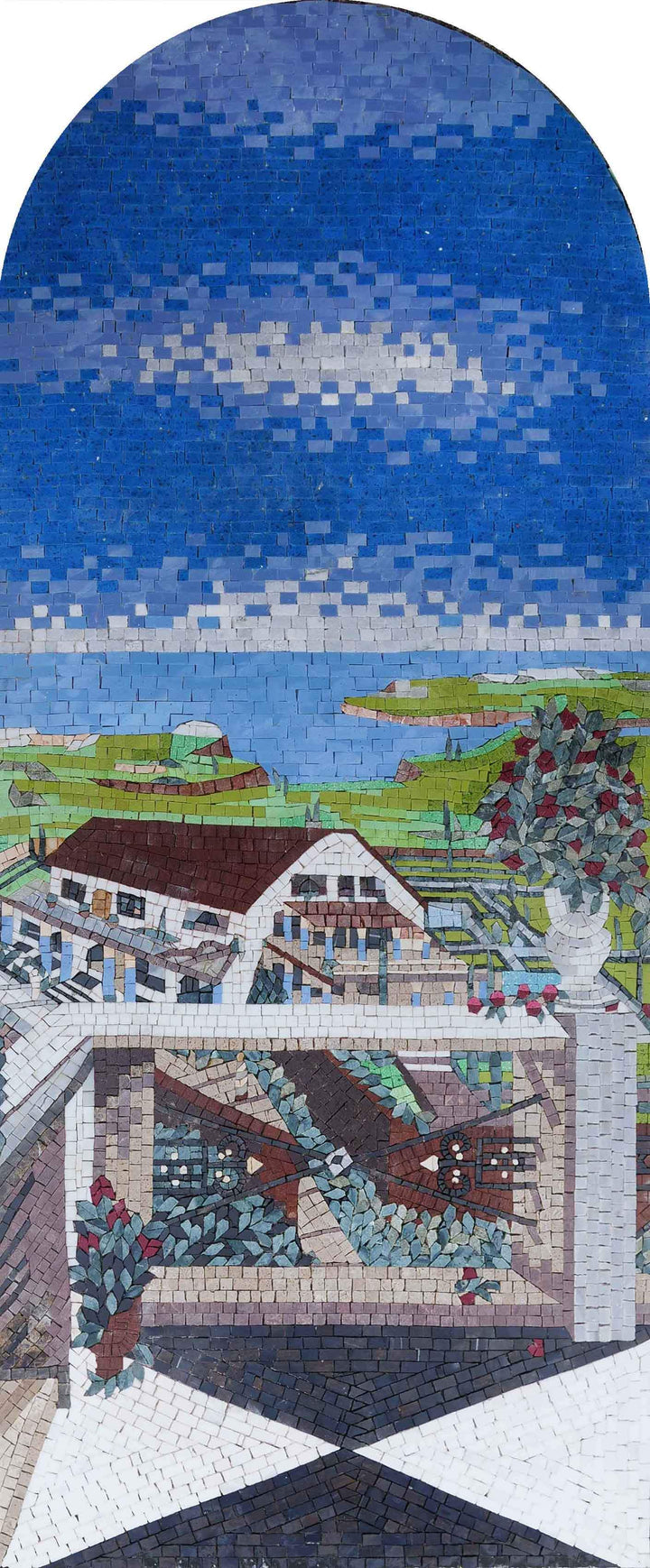 Town Balcony View - Mosaic Art