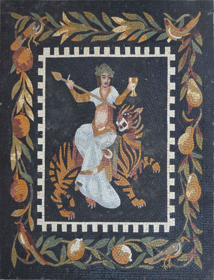 Bacchus and the Tiger - Mosaic Art