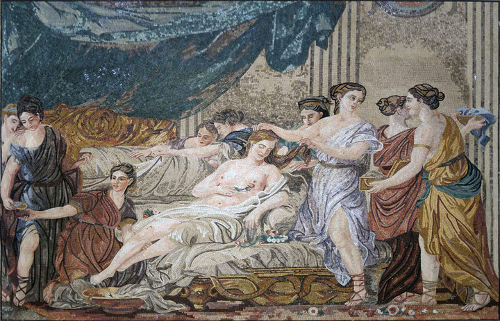 Mosaic Art Reproduction -  Women in Classical Dress Attending a Young Bride