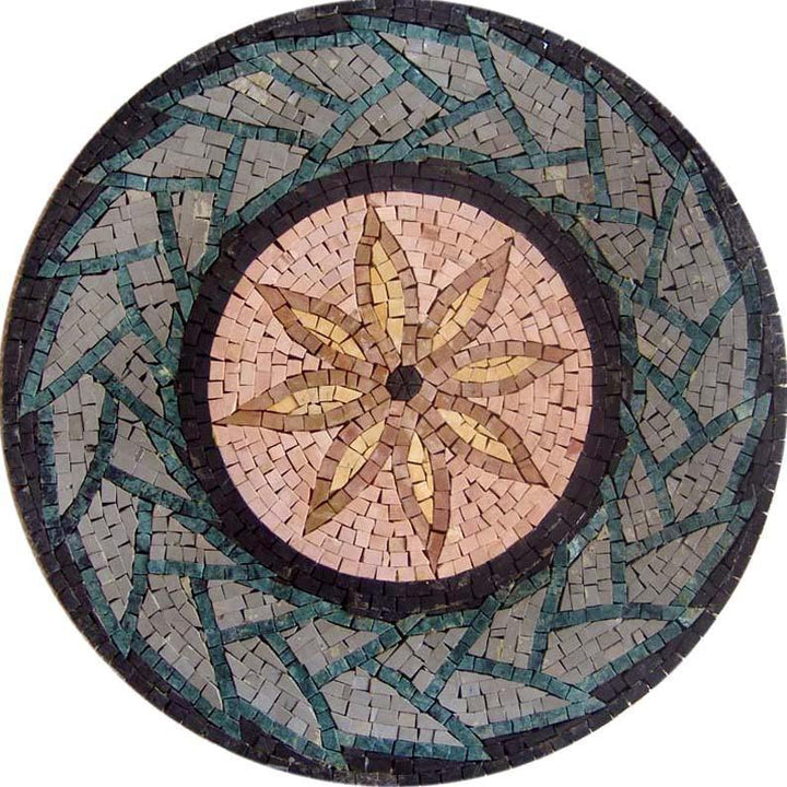 8 Petals Geometric Flower Mosaic Medallion