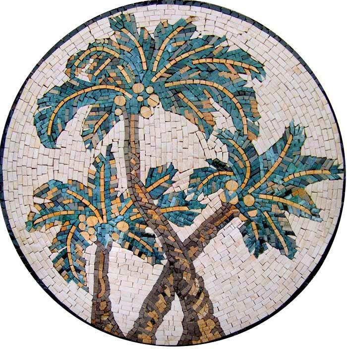Mosaic Art Medallion - Palm Trees Accent