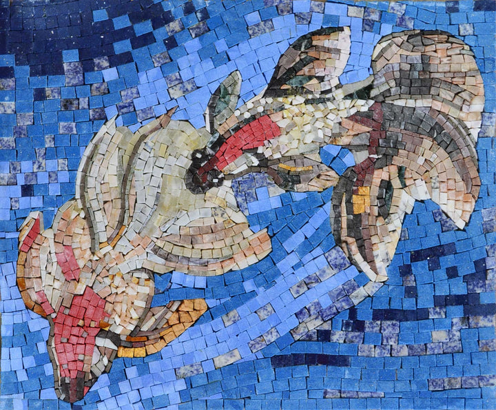 Koi Fish in the sea Marble Mosaic