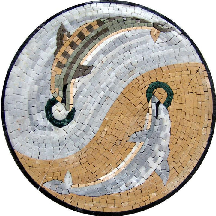 Mosaic Medallion - Swaying Dolphins