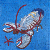 Lobster On Blue  Nautical Mosaic Art
