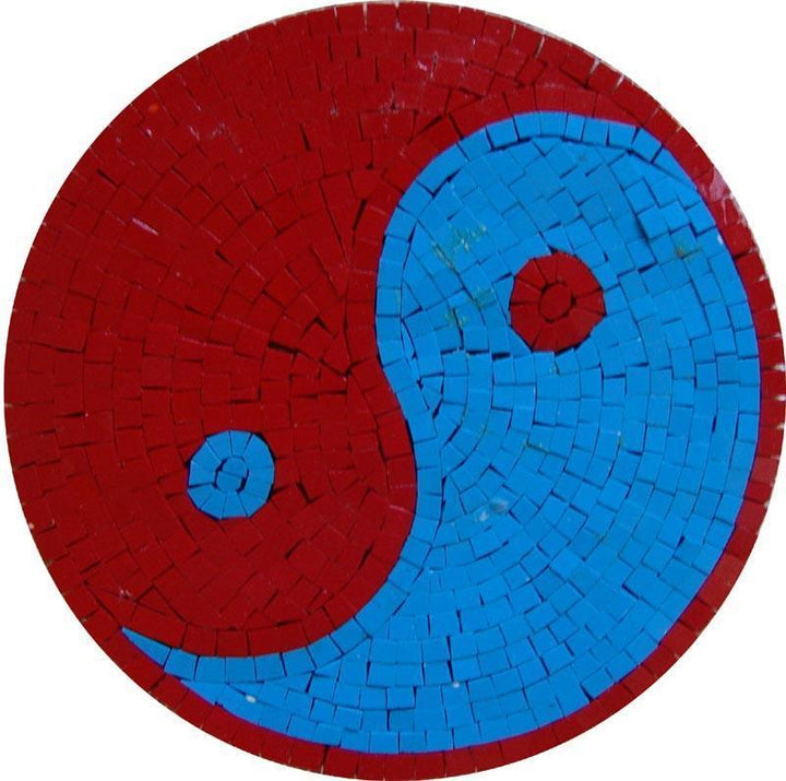 Colorful Yin Yang Mosaic Art Tile Medallion