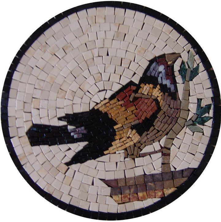 Mosaic Medallion - The Bullfinch Bird