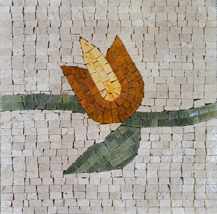 Handmade Mosaic Artwork - Orange Tulip
