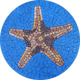 Star Fish On Blue Medallion - Mosaic Art