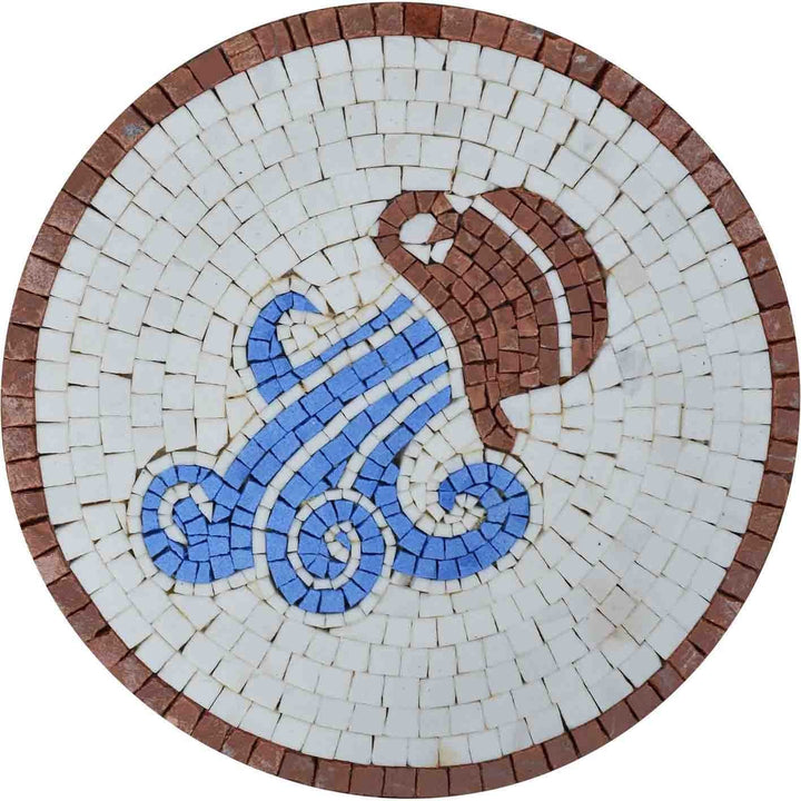 Aquarius Horoscope Marble Mosaic Design