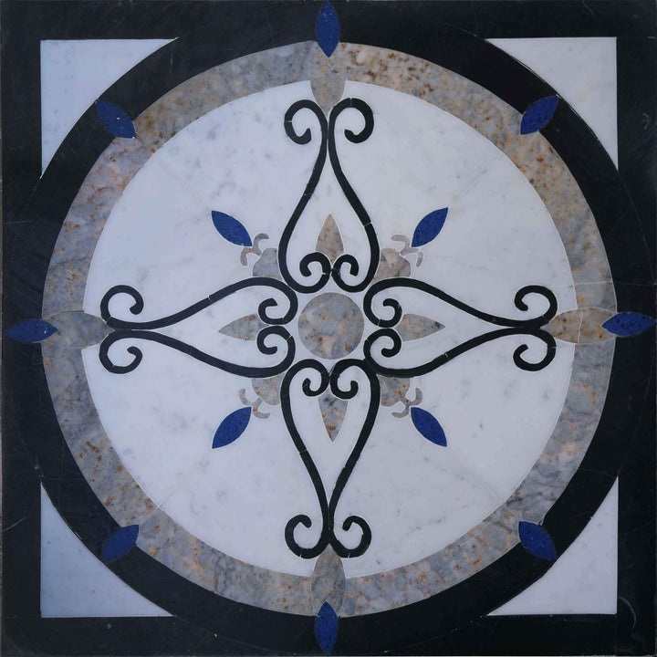 Waterjet Floral Marble Mosaic Design
