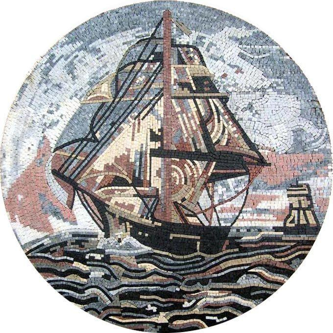 Sailing Ship Medallion Mosaic
