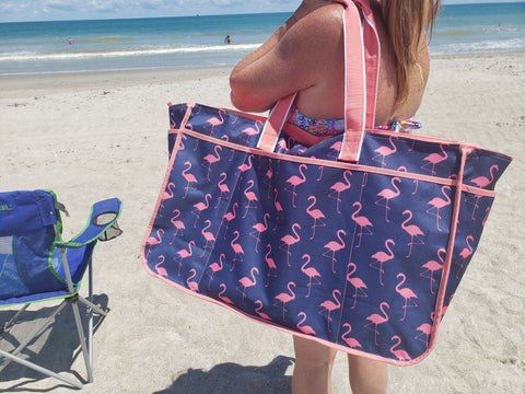 Flamingo large beach bag