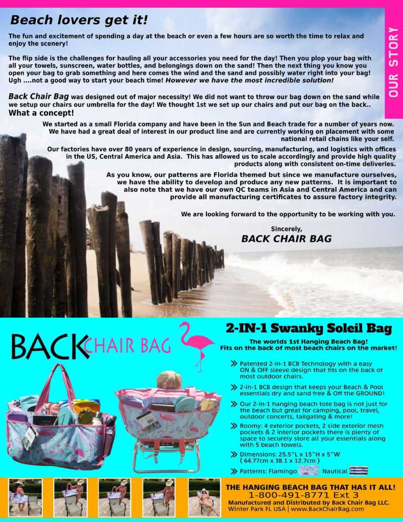 Beach Lovers Get it Back Chair Bag the best beach bag on the market