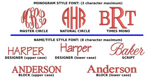 monogram and font styles for your beach bag by Back Chair Bag