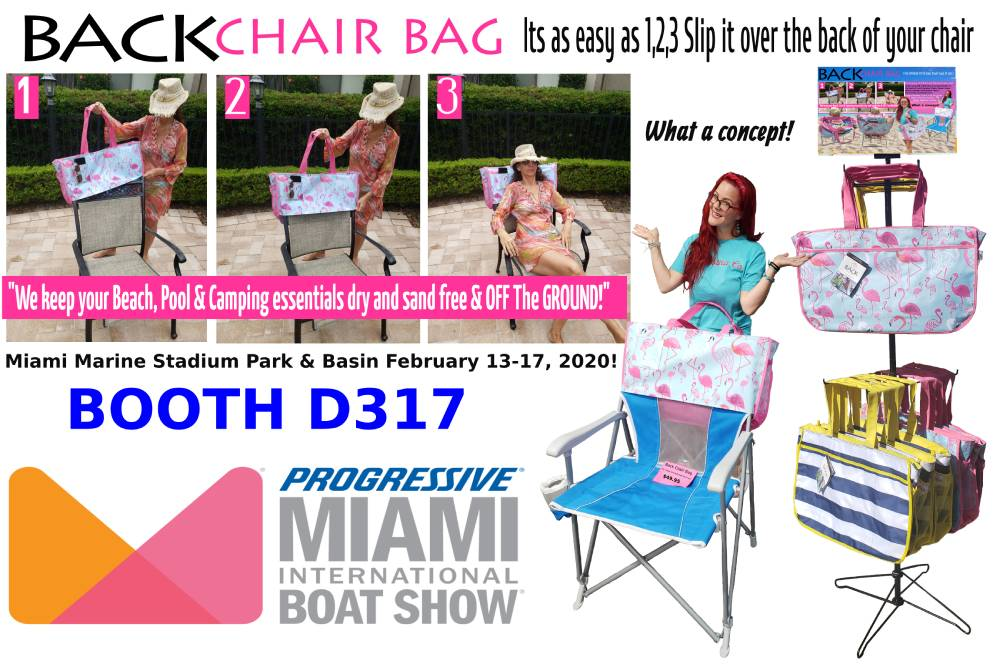 Back Chair Bag Beach Bag Best Beach Bag at the Miami International Boat Show 2020