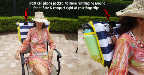 Tote beach bag cell phone pocket by Back Chair Bag