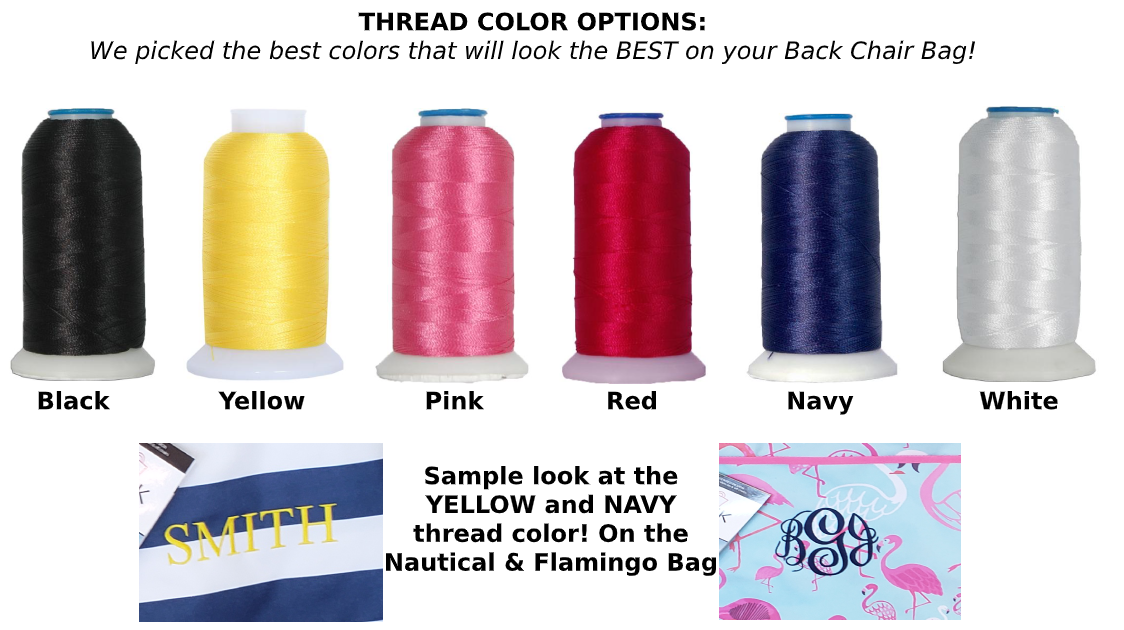 Thread color options for Back Chair Bag, Beach Bag