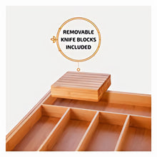 Bambusi 100% Natural Bamboo Drawer Organizer - Kitchen utensil divider with 2 removable inline knife blocks