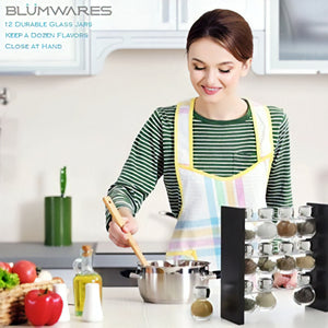 Belwares Spice Jar Rack - 12 Durable Glass Jars in Sleek & Attractive Stand Holder - Keep a Dozen Flavors Close at Hand
